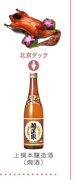 北京ダック → 上撰本醸造酒(燗酒)