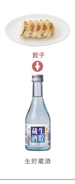 餃子 → 生貯蔵酒