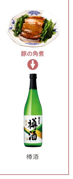 豚の角煮 → 樽酒