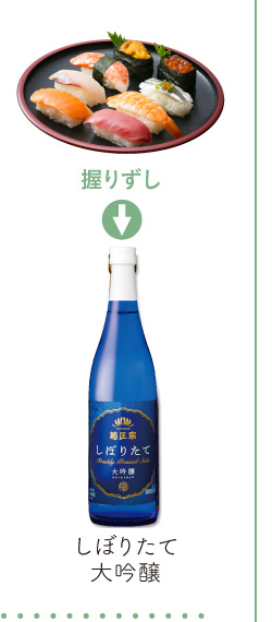 握りずし → しぼりたて大吟醸酒