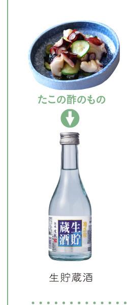 たこの酢のもの → 生貯蔵酒