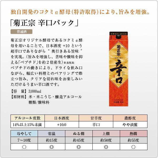 「菊正宗 辛口パック 3.0L×4本」